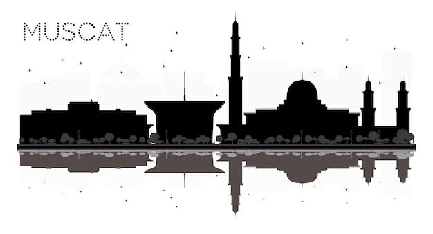 Silhueta de horizonte preto e branco de muscat city com reflexos. ilustração vetorial. conceito plano simples para apresentação de turismo, banner, cartaz ou site da web. paisagem urbana com monumentos.