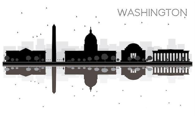 Silhueta de horizonte preto e branco de washington dc city com reflexões. ilustração vetorial. conceito plano simples para apresentação de turismo, banner, cartaz ou site da web. paisagem urbana com monumentos.