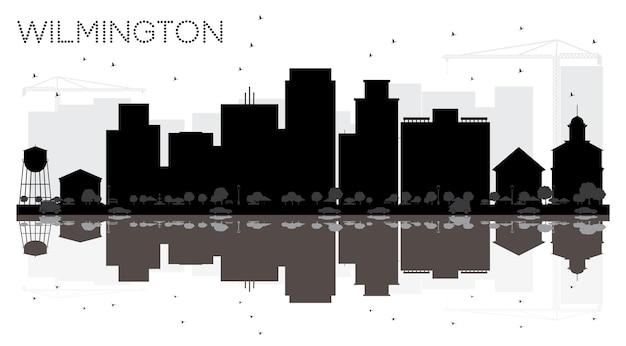 Silhueta de horizonte preto e branco de wilmington city com reflexos. ilustração vetorial. paisagem urbana com pontos de referência