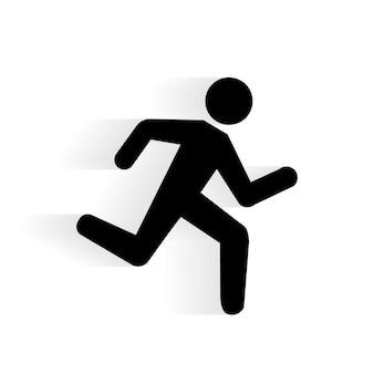 Silhueta de ícone humano em execução vetorial com sombra isolada no branco