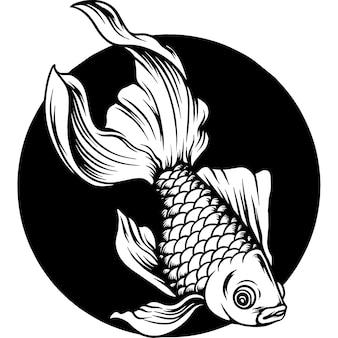 Silhueta de ilustração de peixe dourado