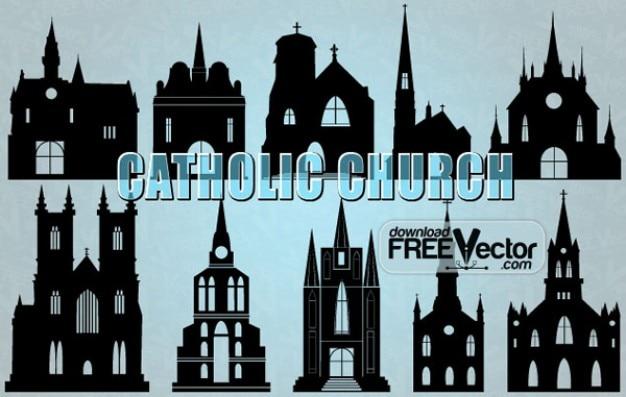 Silhueta de ilustração vetorial igreja católica