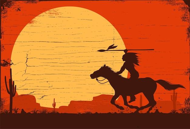 Silhueta de índio americano nativo, montando a cavalo.