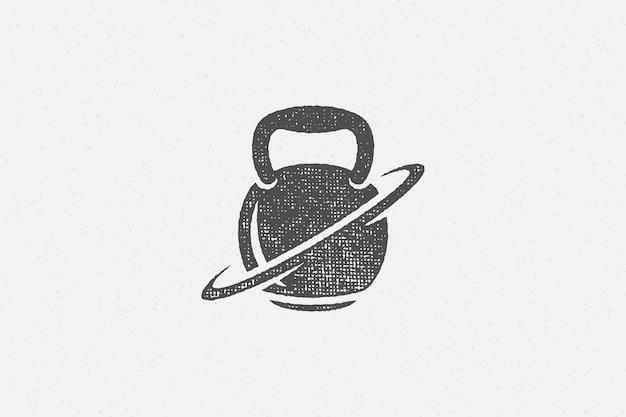 Silhueta de kettlebell pesado como símbolo de carimbo desenhado à mão de treino de levantamento de peso