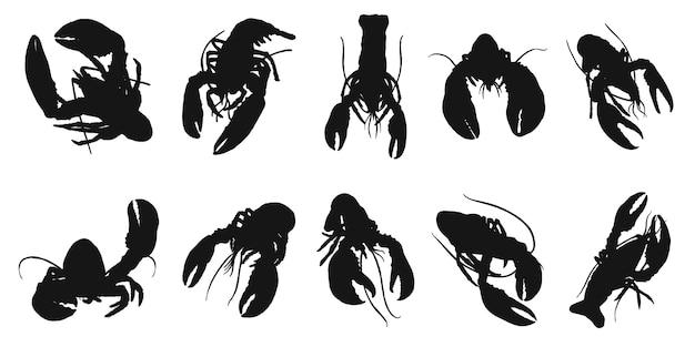 Silhueta de lagosta em branco