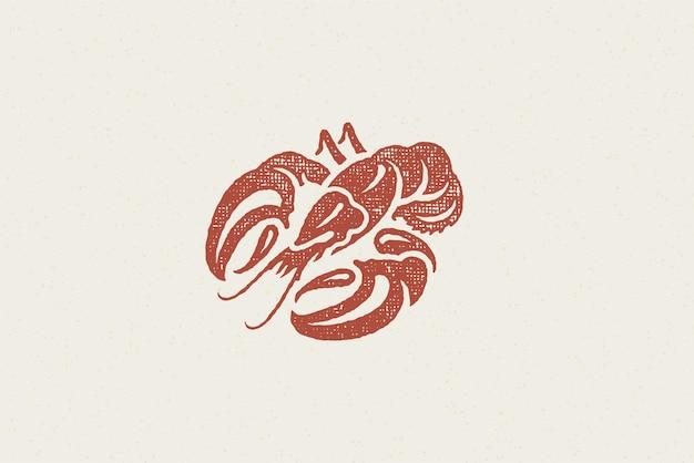 Silhueta de lagosta para menu de restaurante de frutos do mar e efeito de carimbo desenhado à mão de logotipo