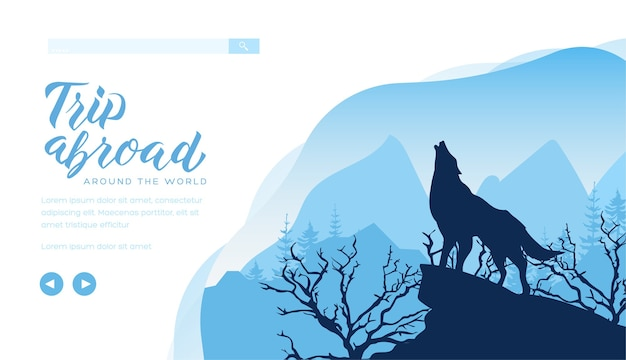 Silhueta de lobo uivando para a lua na rocha. paisagem noturna com penhasco, árvores e animais.