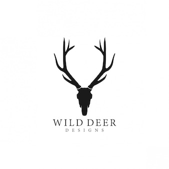 Silhueta de logotipo de veado selvagem