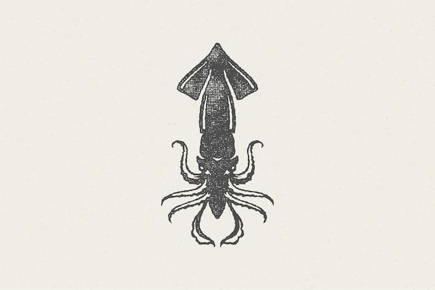 Silhueta de lula para o mercado de alimentos e restaurante de frutos do mar com ilustração em vetor efeito carimbo desenhado à mão