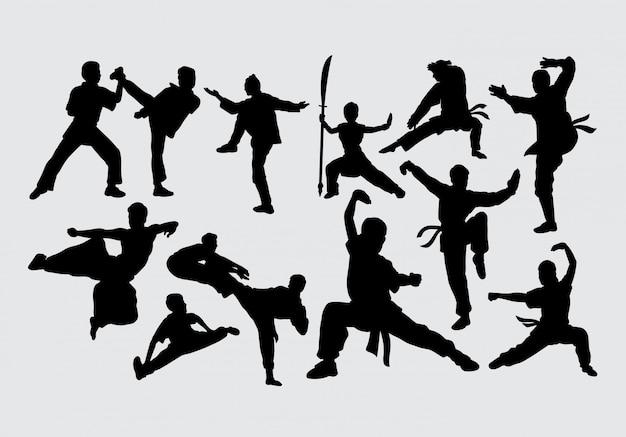 Silhueta de luta de arte marcial