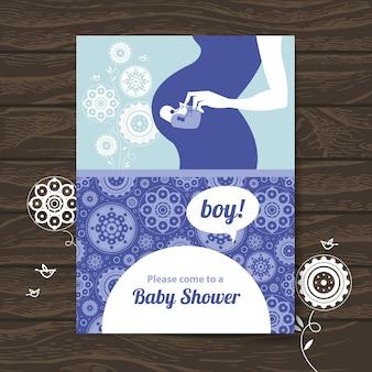 Silhueta de mãe grávida. convite para chá de bebê