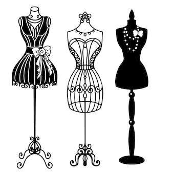 Silhueta de manequins vintage