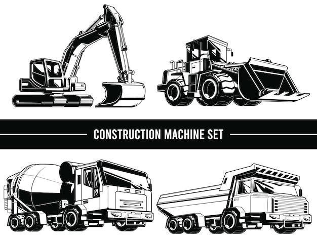 Silhueta de máquinas de construção, veículos industriais pesados