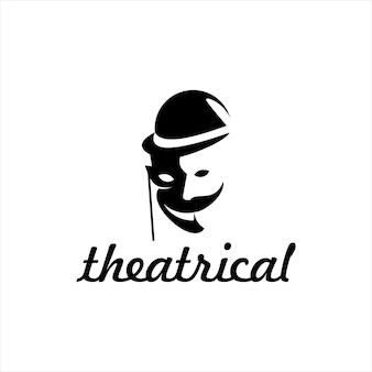 Silhueta de máscara de teatro arte vetorial de duas faces