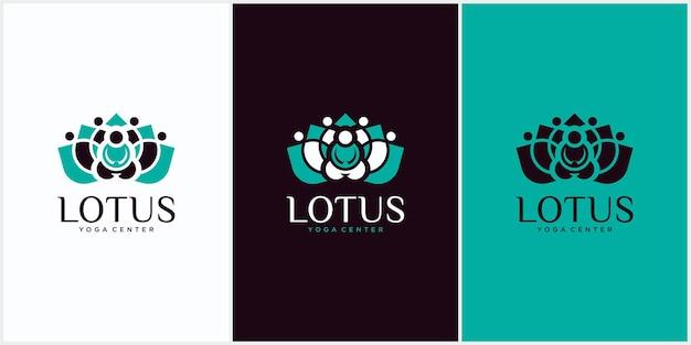 Silhueta de meditação em flor de lótus, saúde, spa, cura logotipo do modelo de meditação humana em ilustração vetorial de flor de lótus na cor verde