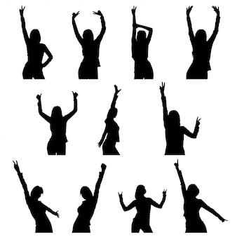 Silhueta de menina dança