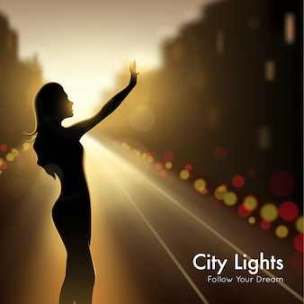 Silhueta de menina em luzes da cidade