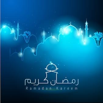 Silhueta de mesquita islâmica de ramadan kareem brilho luz de fundo