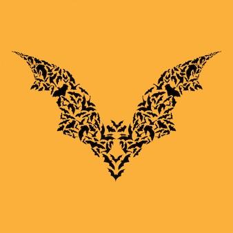 Silhueta de morcego voador halloween