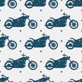 Silhueta de moto esporte e padrão sem emenda - motocicleta textura sem emenda