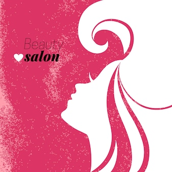 Silhueta de mulher bonita. cartaz do salão de beleza. ilustração vetorial