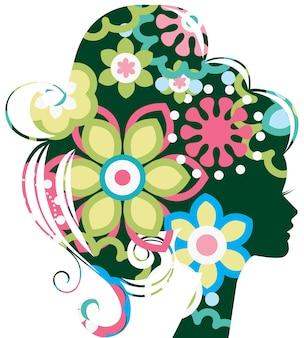 Silhueta de mulher bonita com flores