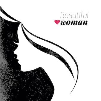 Silhueta de mulher bonita. ilustração vetorial