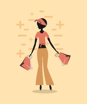 Silhueta de mulher com estilo retrô de sacos de compras