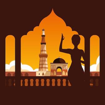 Silhueta de mulher com o indiano emblemático do taj mahal