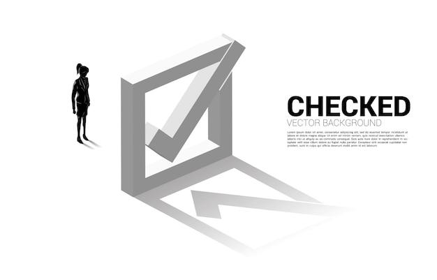 Silhueta de mulher de negócios em pé com a caixa de seleção 3d. conceito de fundo temático de votação eleitoral.