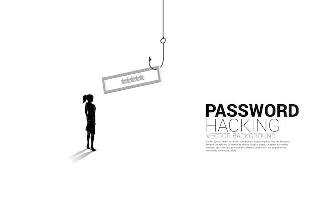 Silhueta de mulher de negócios em pé com anzol de pesca com senha. conceito de click isca e phishing digital.