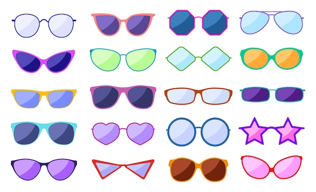 Silhueta de óculos de sol. óculos de moda retrô, óculos de glamour. óculos modernos com reflexo e proteção ocular
