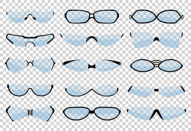 Silhueta de óculos, óculos e acessórios ópticos. várias formas.