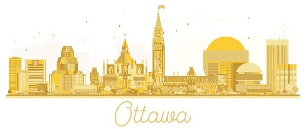 Silhueta de ouro do horizonte de ottawa city. ilustração vetorial. conceito de viagens de negócios. ottawa cityscape com monumentos.