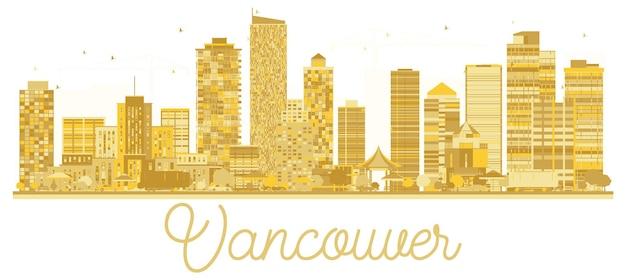 Silhueta de ouro do horizonte de vancouver city. ilustração vetorial. conceito de viagens de negócios. vancouver cityscape com monumentos famosos.