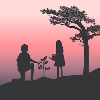 Silhueta de pai e filha jardinagem vector