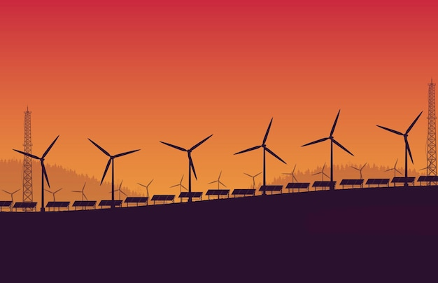 Silhueta de painel solar de turbina eólica em fundo laranja gradiente