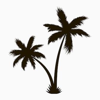 Silhueta de palmeira. planta tropical realista. ilustração vetorial.