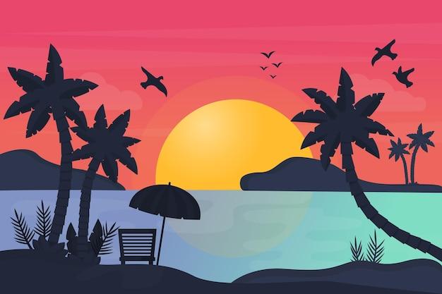 Silhueta de palmeiras e fundo do pôr do sol