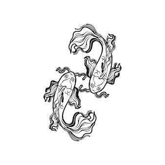 Silhueta de peixe koi yin yang
