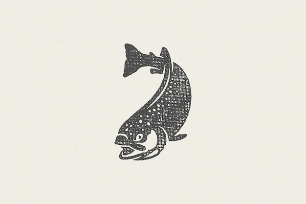 Silhueta de peixe truta nadando para clube de pesca ou efeito de carimbo desenhado à mão no mercado de frutos do mar