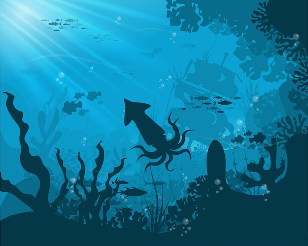 Silhueta de peixes e algas no fundo dos recifes