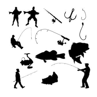 Silhueta de pesca preta e branca com um conjunto de objetos ou elementos monocromáticos