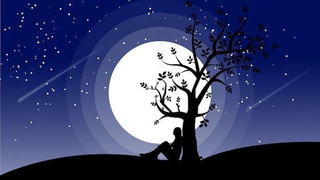 Silhueta de pessoa deitada debaixo de uma árvore com a lua atrás