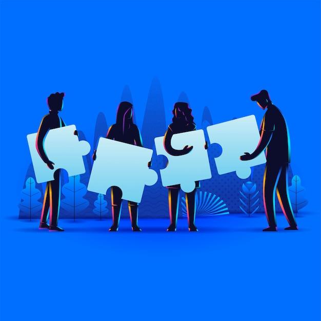 Silhueta de pessoas conectando elementos de quebra-cabeça. símbolo do trabalho em equipe, cooperação, parceria, conceito de negócio.