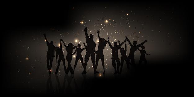 Silhueta de pessoas festa com luzes brilhantes