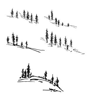 Silhueta de pinheiros conjunto de vetores de silhuetas de árvores coníferas conjunto de silhuetas de floresta