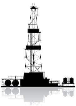 Silhueta de plataforma de petróleo.