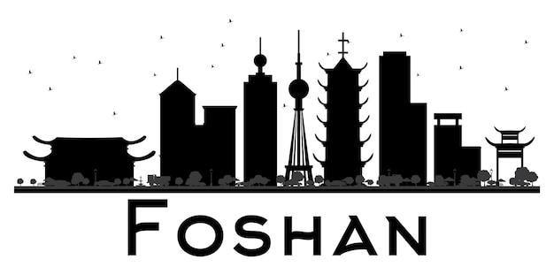 Silhueta de preto e branco do horizonte da cidade de foshan. ilustração vetorial. conceito plano simples para apresentação de turismo, banner, cartaz ou site da web. paisagem urbana com monumentos.