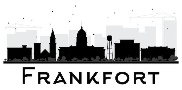 Silhueta de preto e branco do horizonte da cidade de frankfort. ilustração plana simples para apresentação de turismo, banner, cartaz ou site da web. paisagem urbana com monumentos.